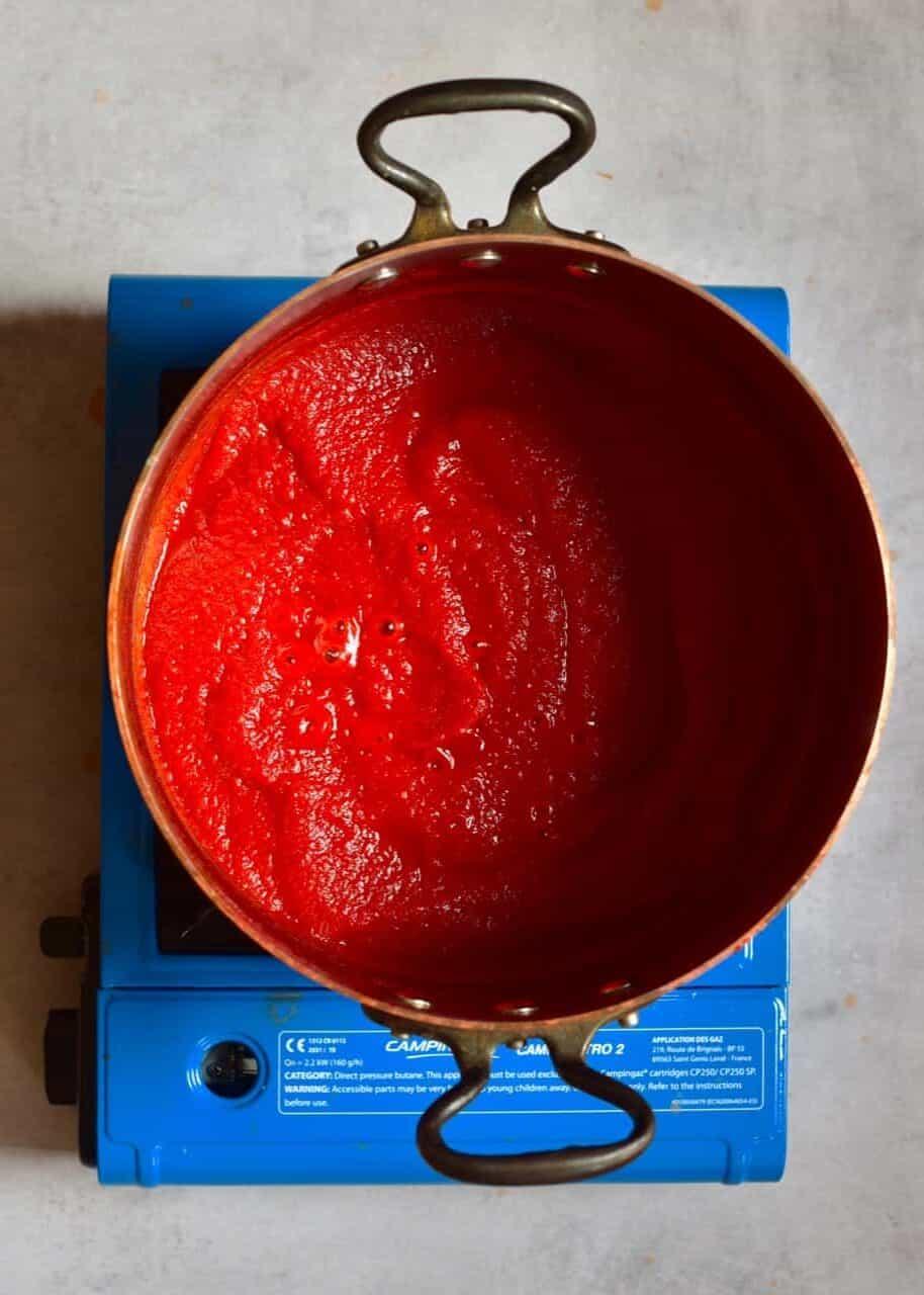 Tomato paste in a pot