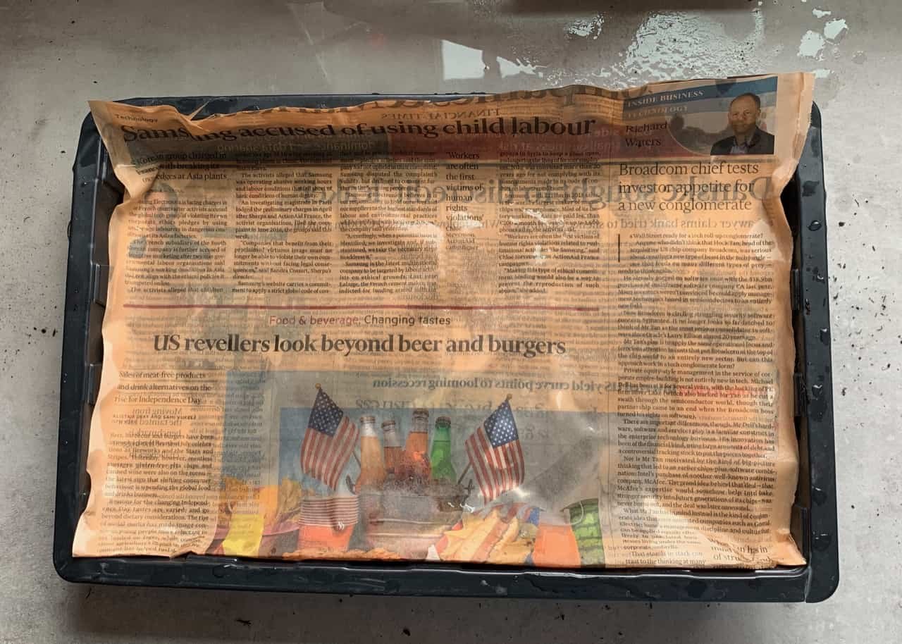 a tray with seeds covered with a newspaper