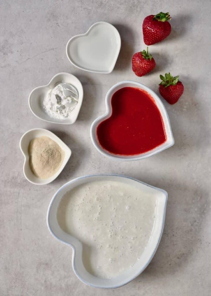 ingredients for coconut & strawberry vegan tart filling