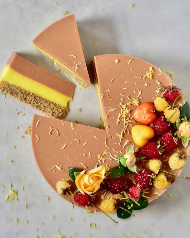 Two-layer Raspberry Peach & Lemonade Tart with refined sugar free vegan fillings