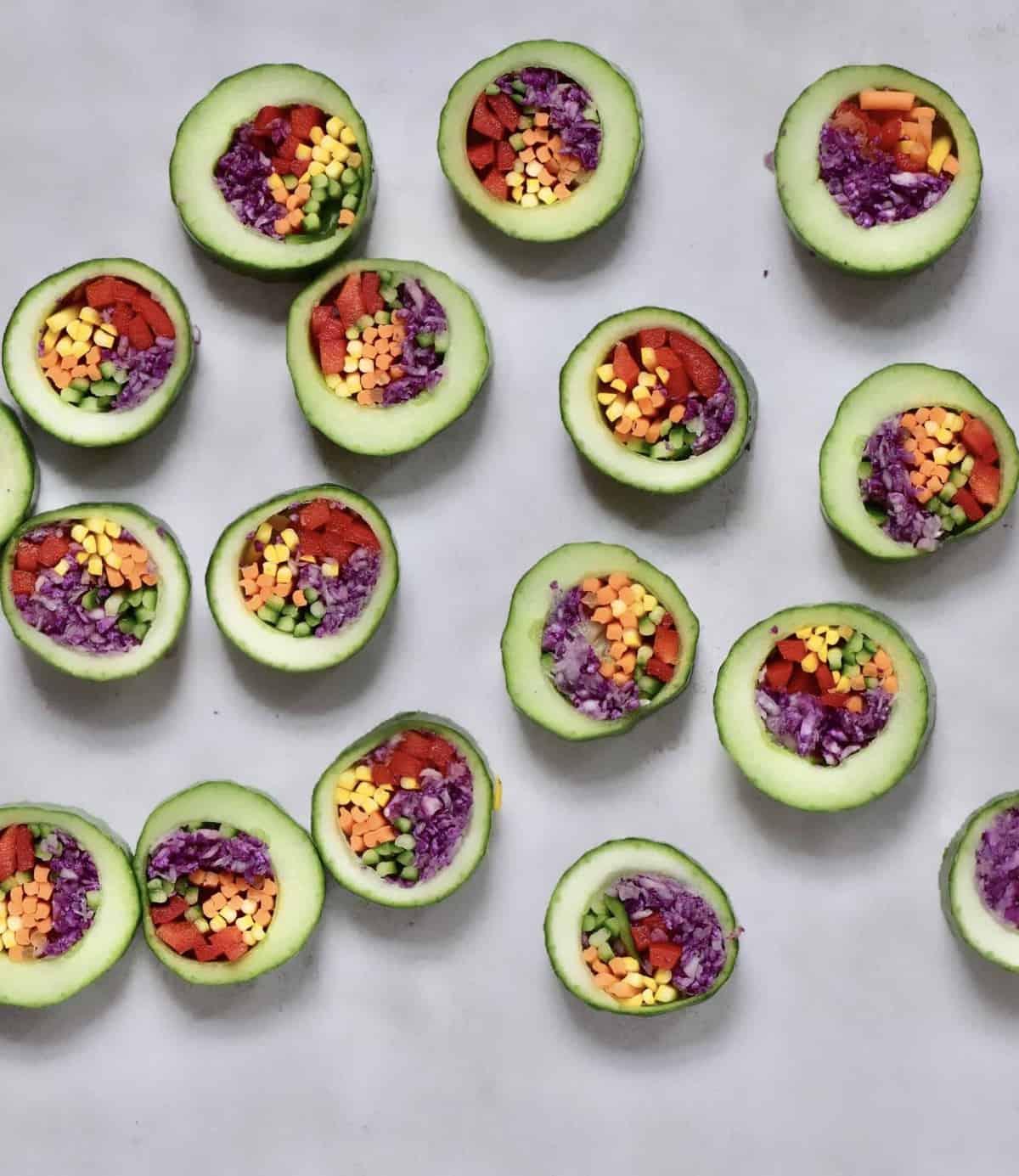 Cucumber sushi cut into rounds