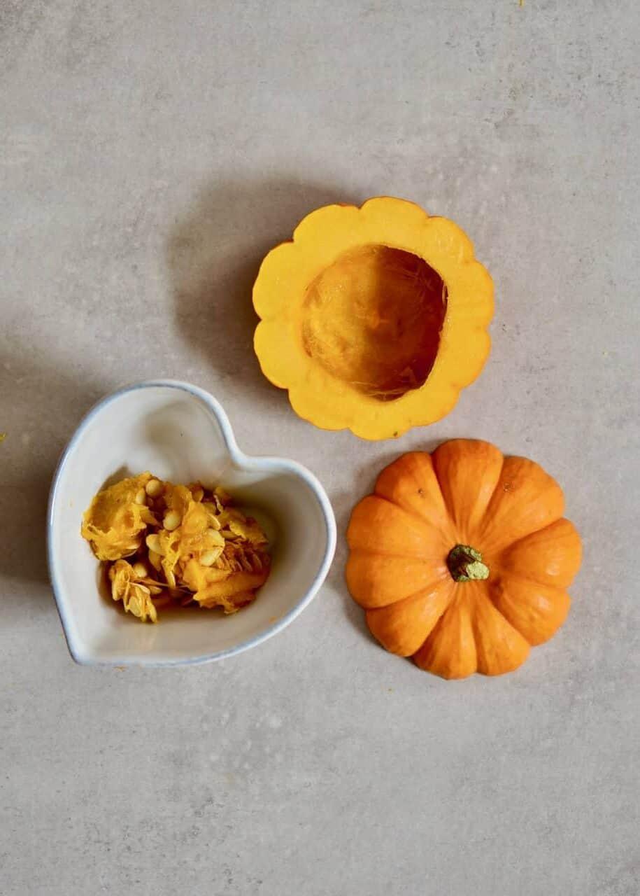 Deseeding a mini pumpkin