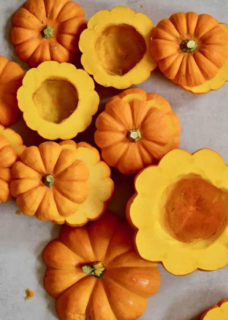 Deseed mini pumpkins