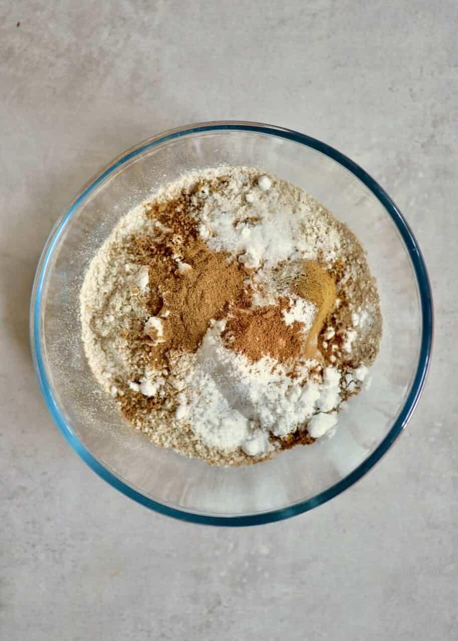 Mixing flour sugar and baking powder