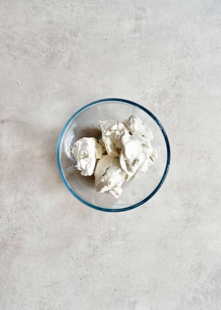Coconut cream in a bowl