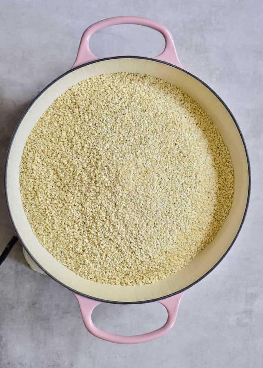 sesame seeds on a pan