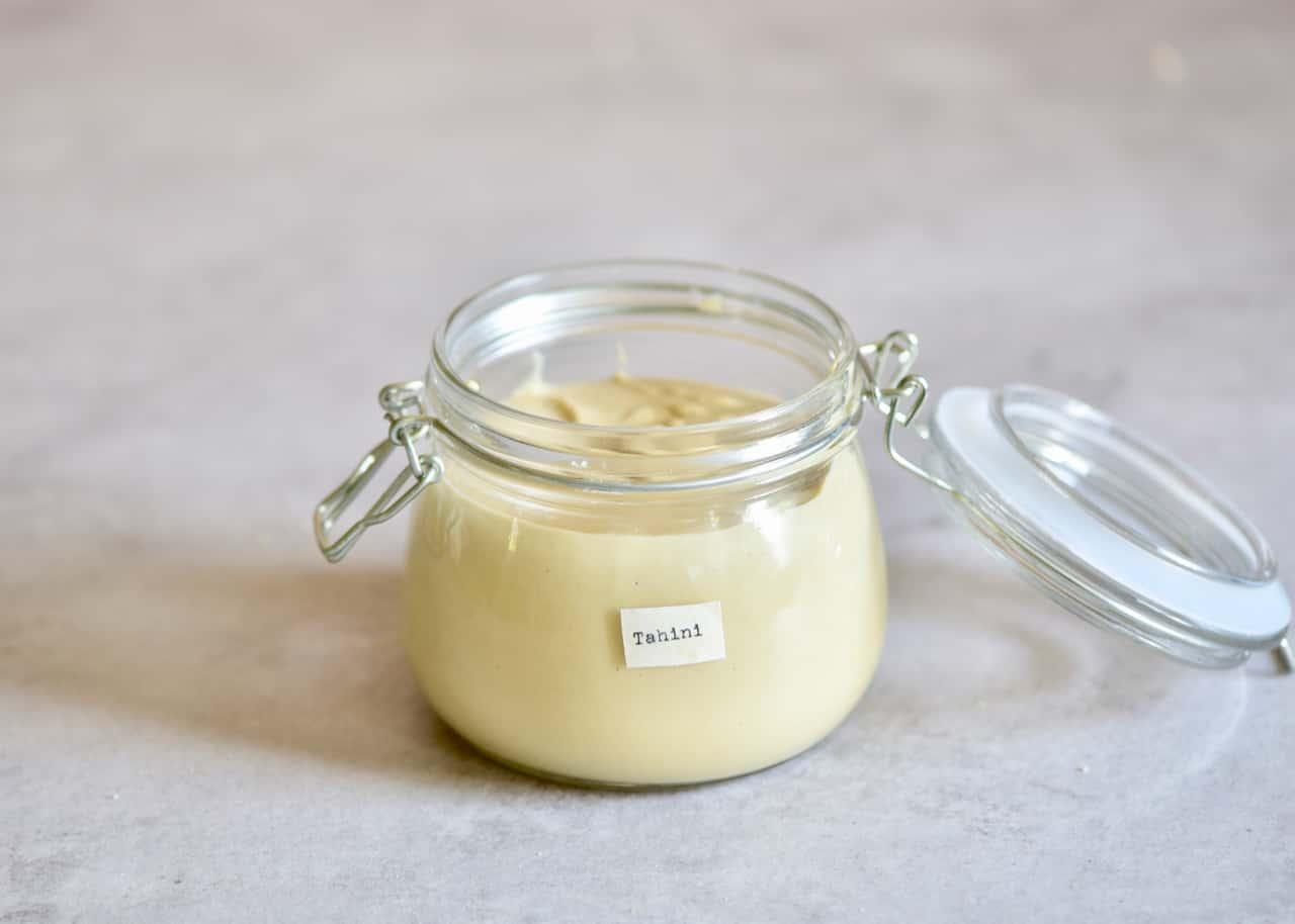 Homemade tahini/sesame paste in a jar