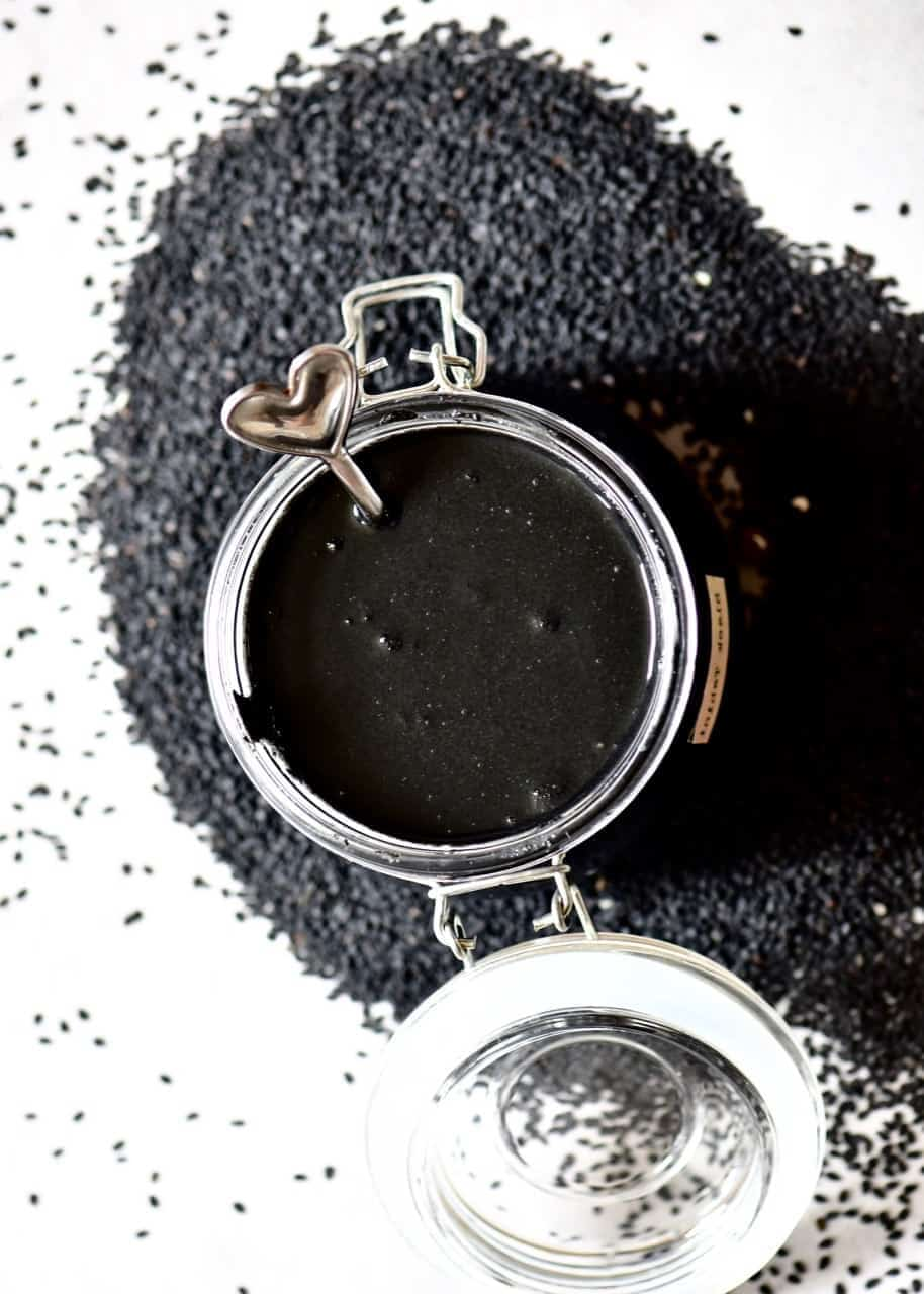 two ingredient homemade black tahini, using black sesame seeds