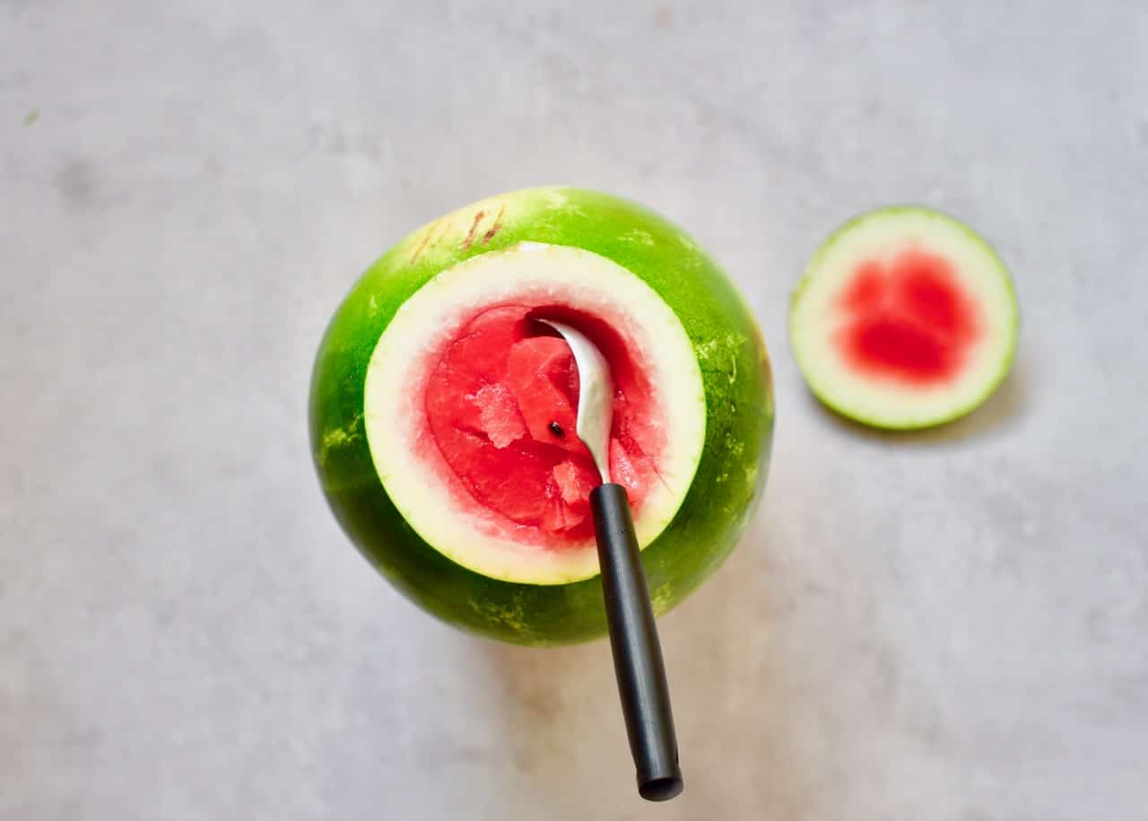 removing flesh from a watermelon