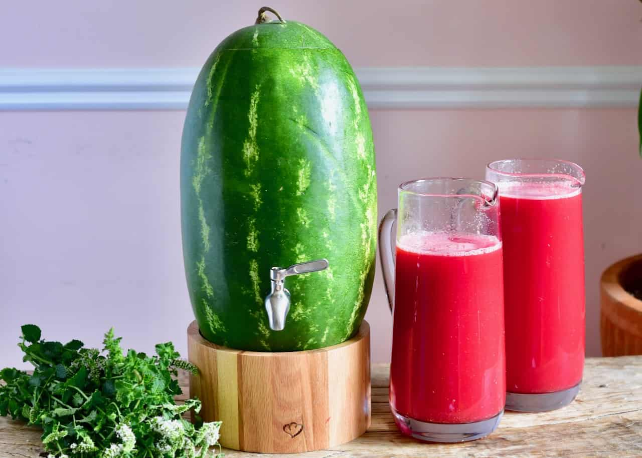 homemade watermelon keg/ dispenser. creative way to use watermelon. fun watermelon recipe