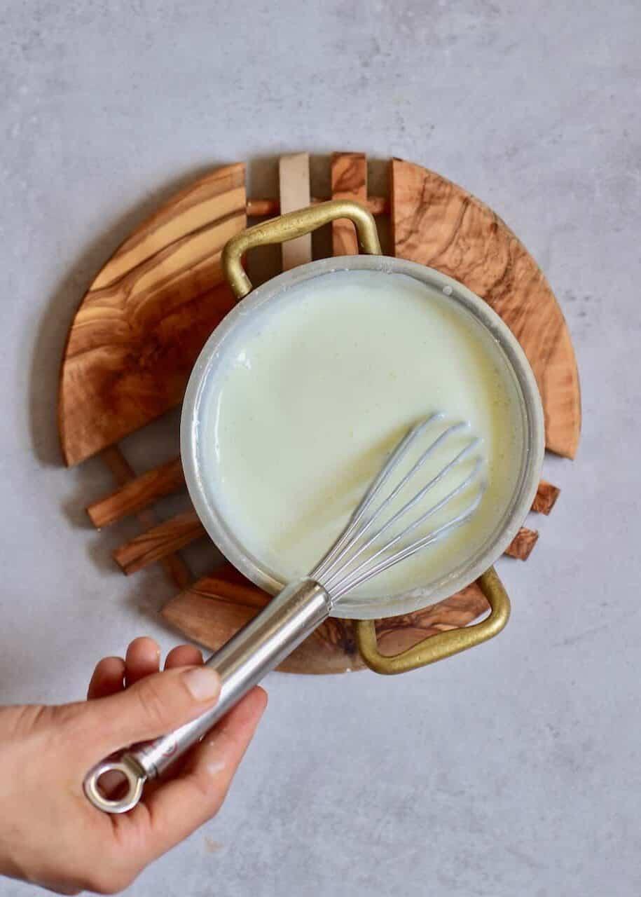 Oat milk in a pot