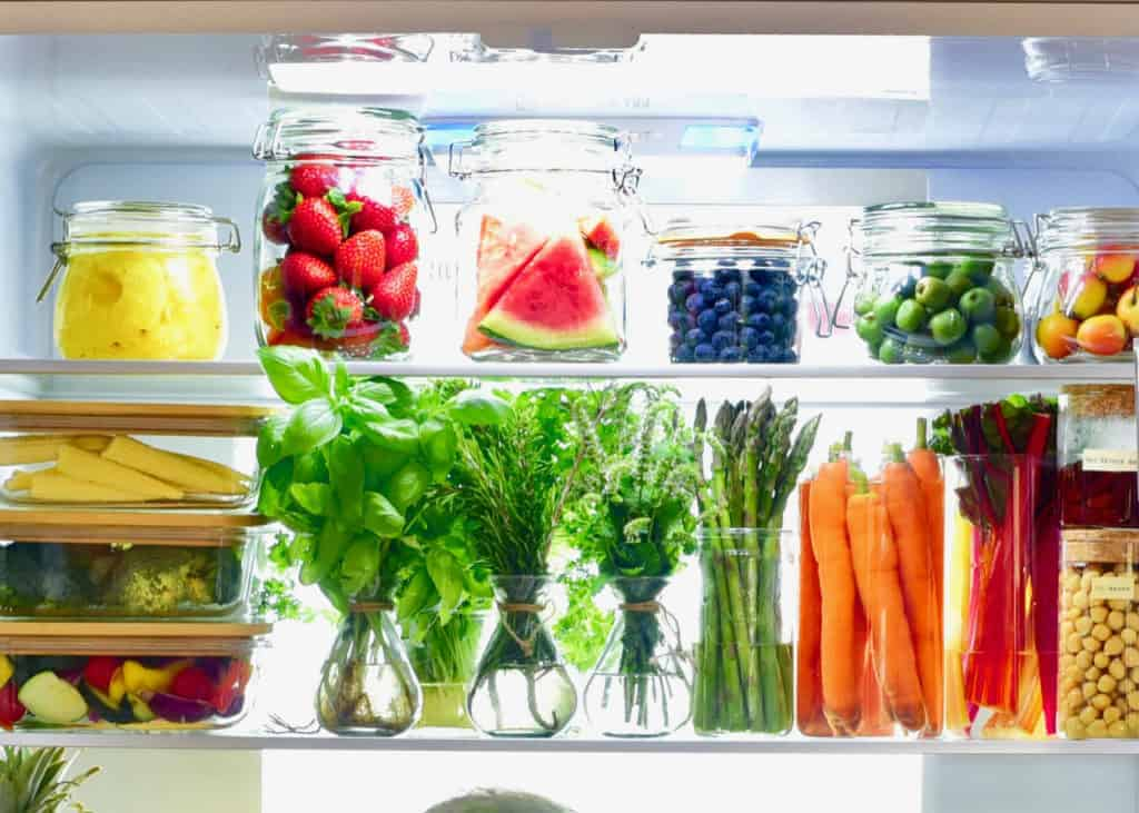 How to organise your fridge, reduce waste, plastic-free tips with food storage hacks. Upper shelves
