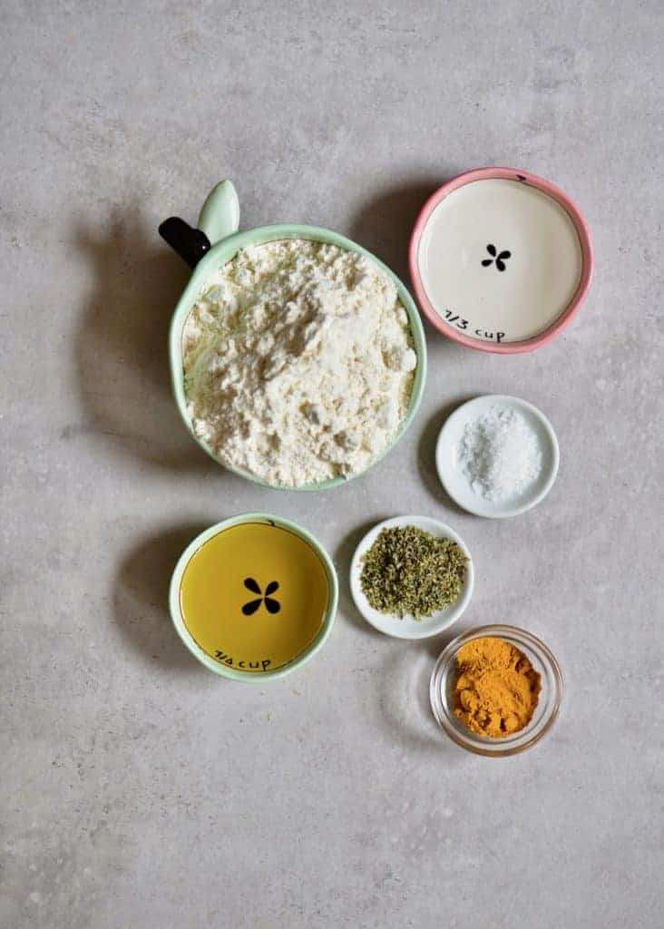 ingredients for simple yellow, autumn leaves crackers