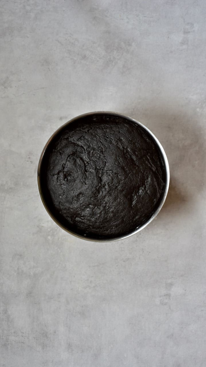 fully raised dough with black squid ink