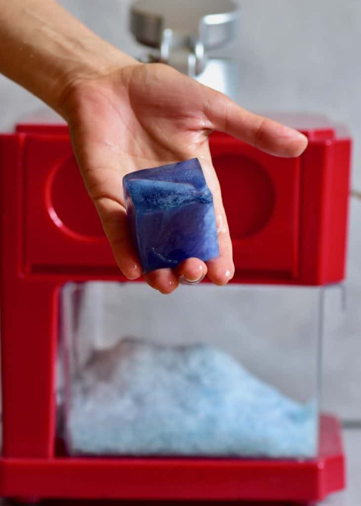butterfly pea blue ice cubes and ice crusher