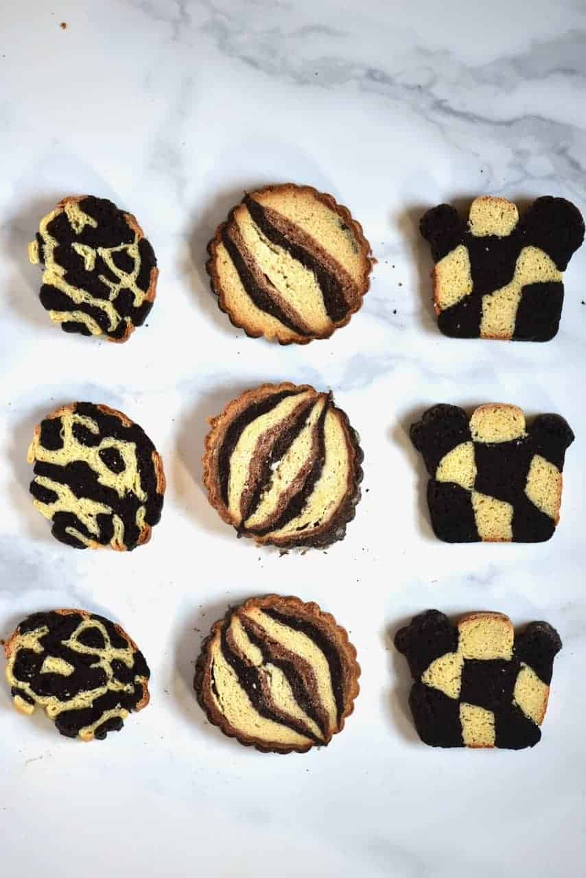 various geometric vegan brioche bread slices