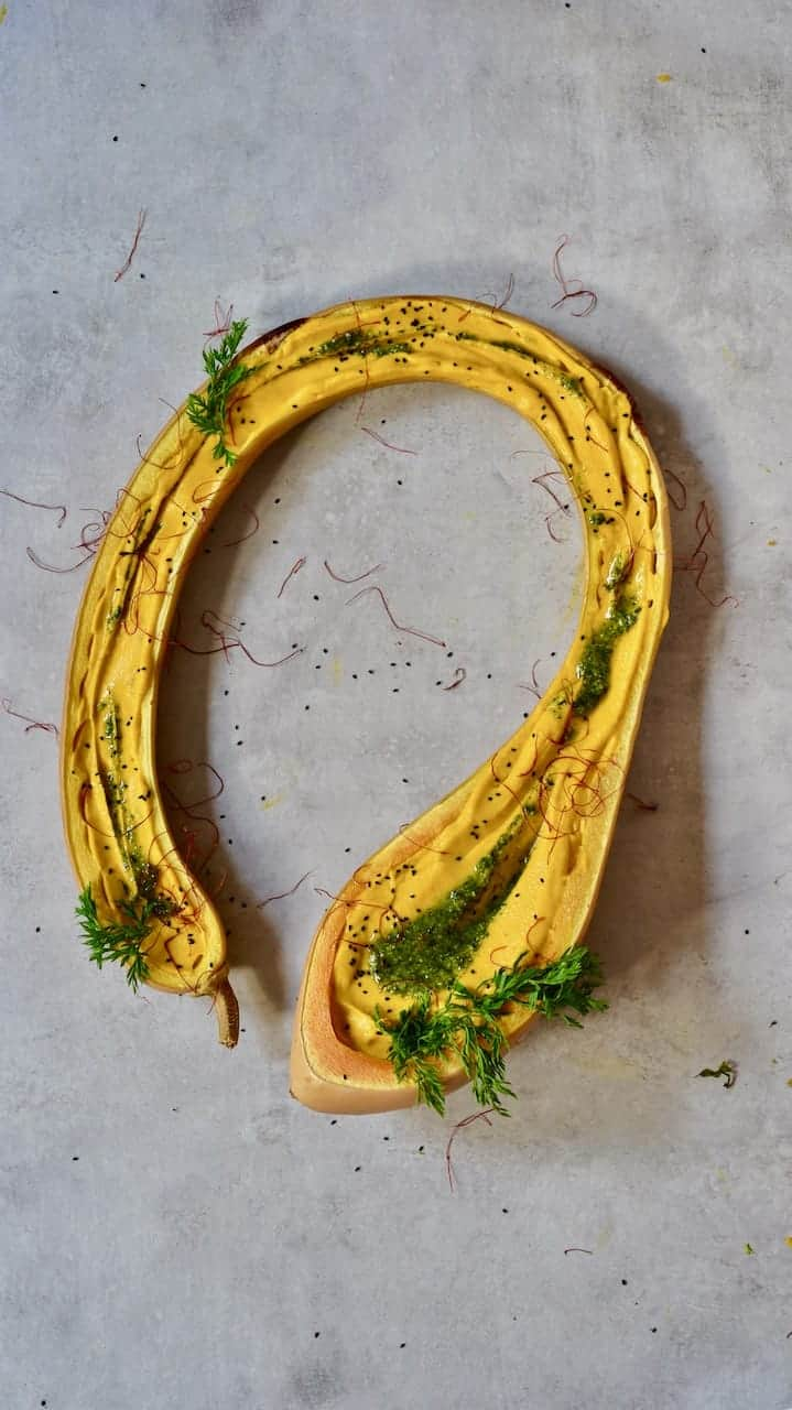 This creamy Pumpkin/ squash and carrot soup 'pond' recipe uses butternut squash or pumpkin, for a delicious, thick & creamy vegetarian soup ( vegan with the use of Vegan creme fraiche) worthy of being a table centrepiece.