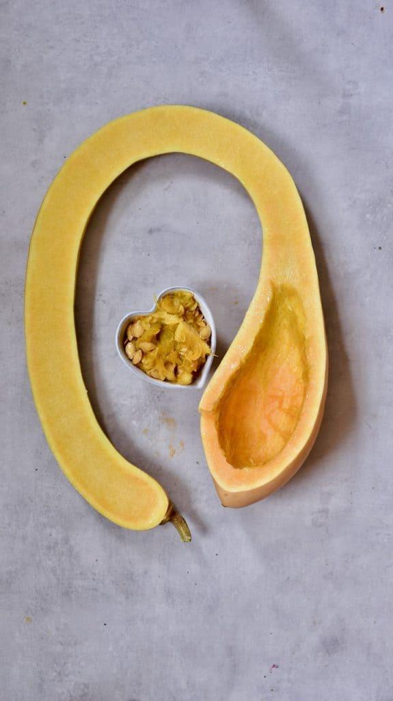 tromboncino squash , cut in half