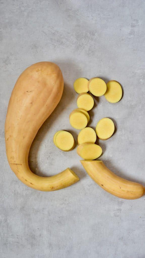 chopped up tromboncino squash