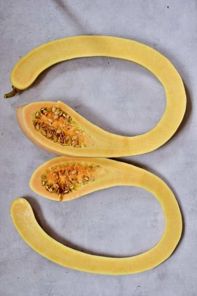 tromboncino squash cut in half, showing the middle