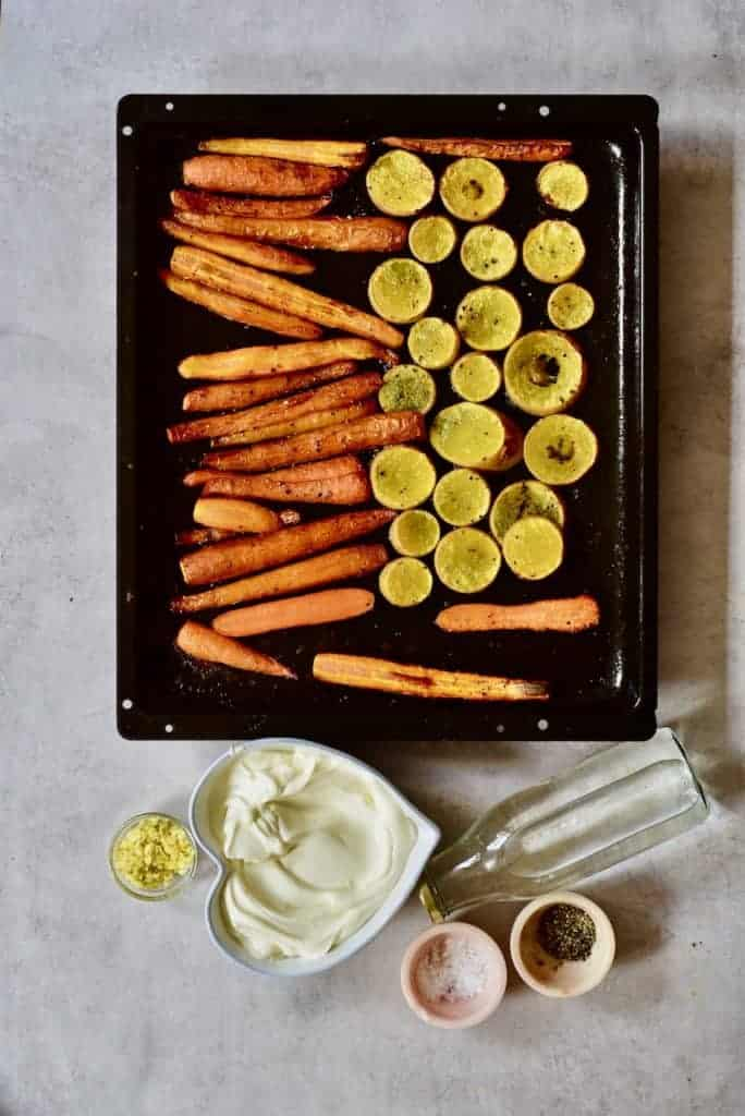 roasted carrots and squash with the remainder of the carrot soup ingredients