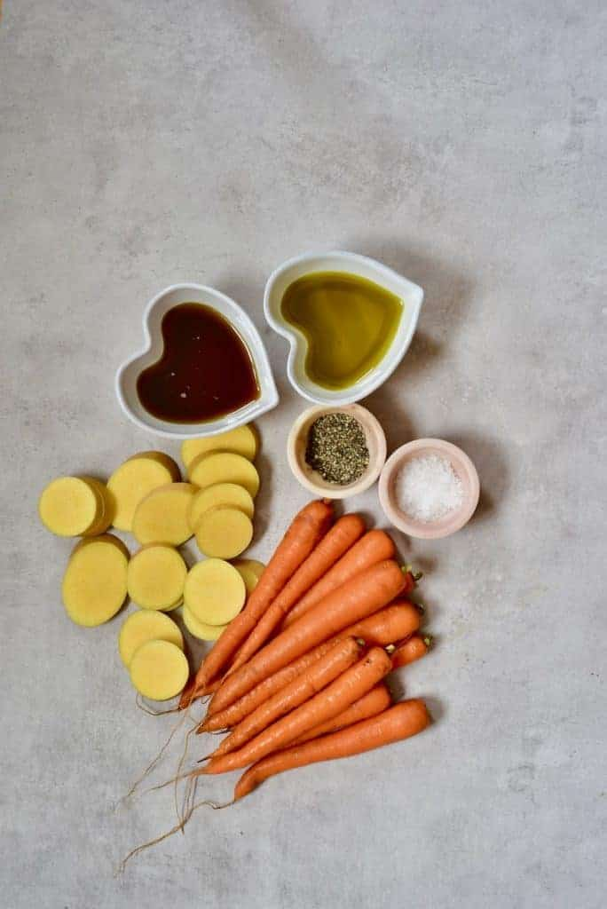ingredients for roasted carrots and squash