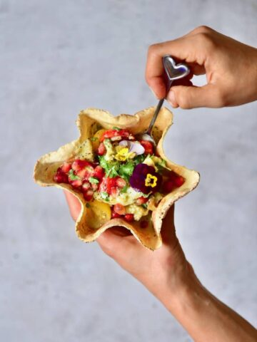 this simple healthy charred eggplant salad is a delicious vegan eggplant recipe served in tortilla bowls.