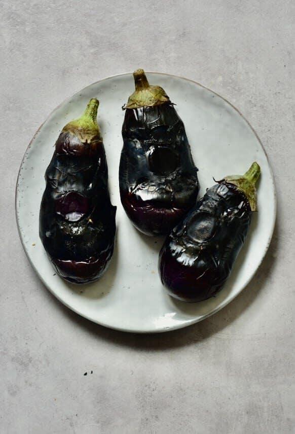 flame charred aubergine