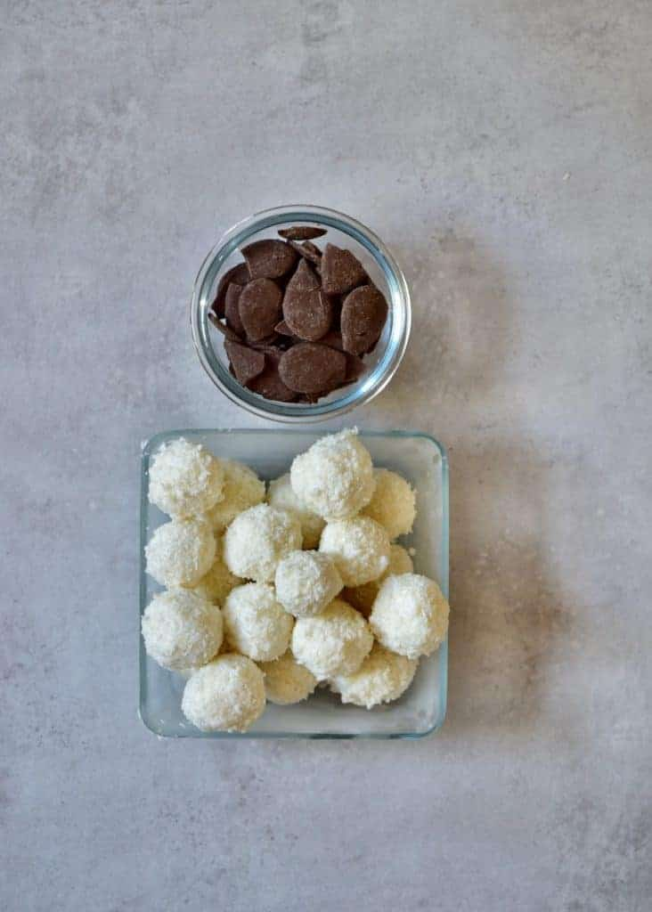 coconut balls and dark chocolate