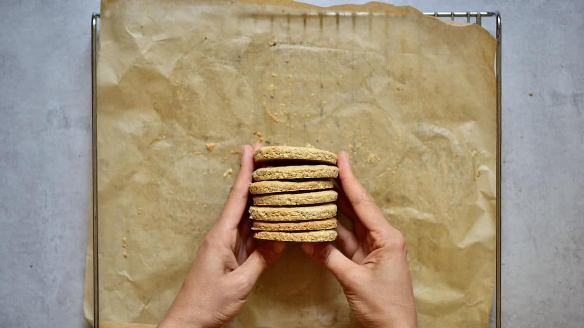 healthier digestive biscuits stacked together
