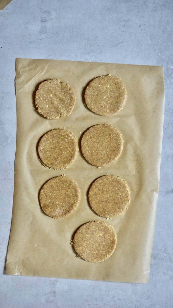 biscuits on a parchment paper ready to bake