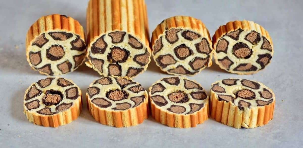 slices of vegan leopard print brioche in a row