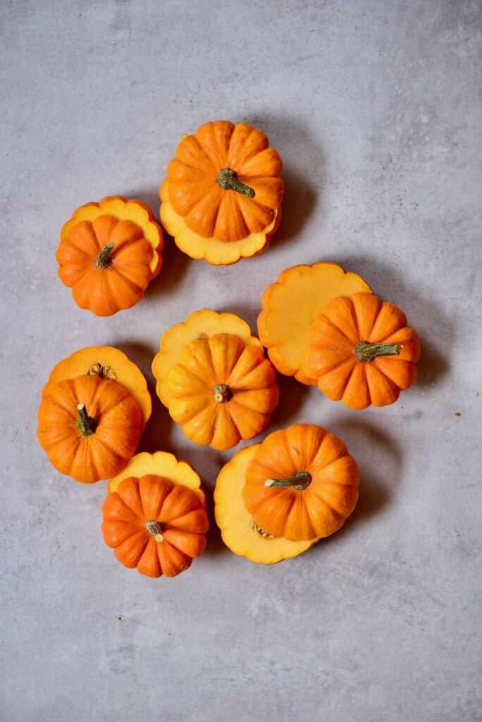 Sliced oped mini pumpkins