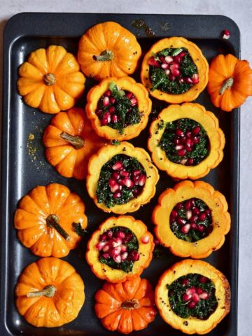 Baked mini pumpkins filled with kale quinoa salad