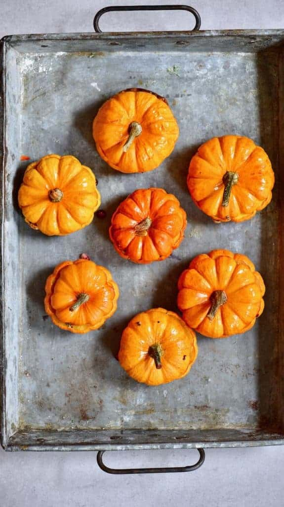 Baked mini pumpkins