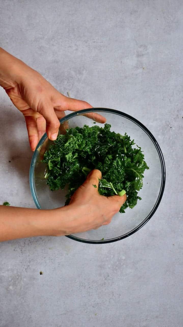 massaged kale for vegan salad