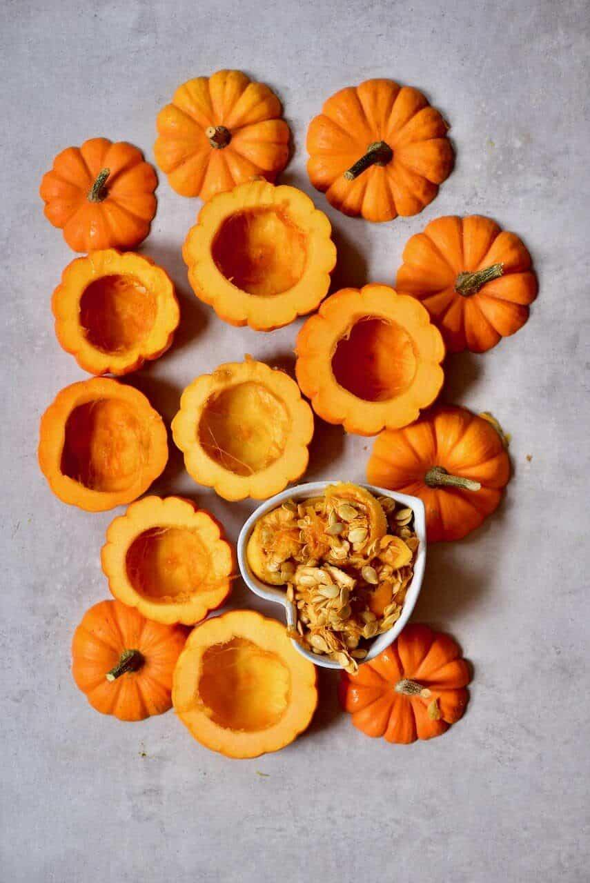 Deseeded mini pumpkins