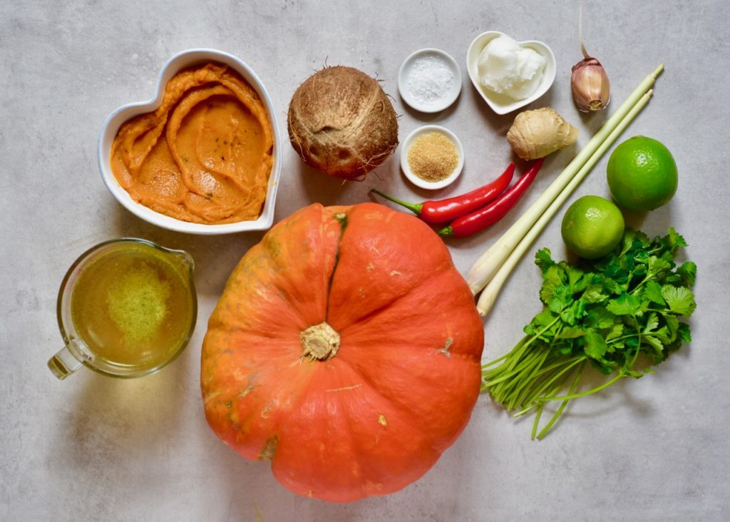 ingredients to make homemade coconut curry pumpkin soup