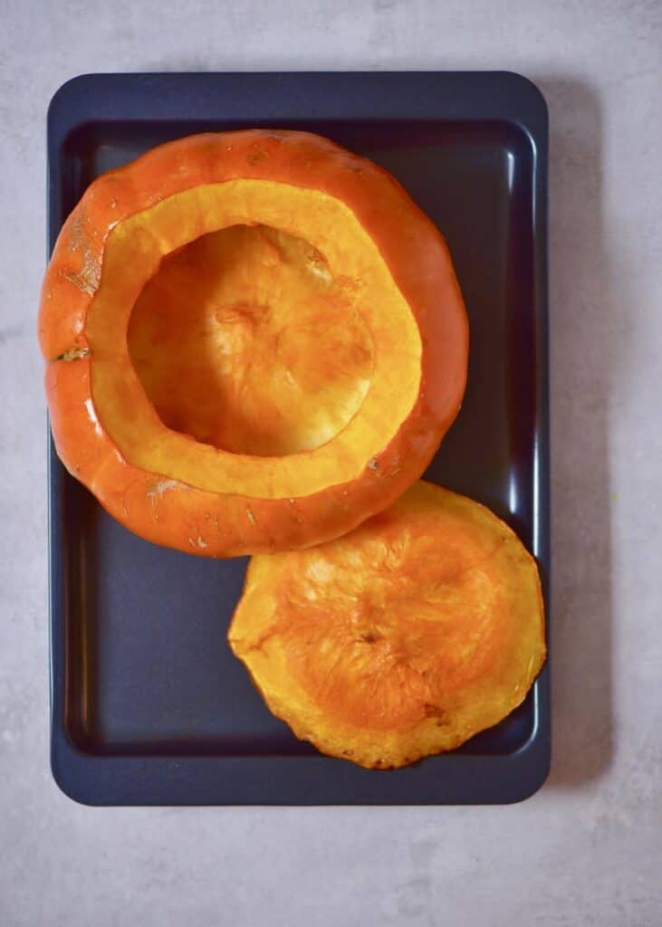 Baked pumpkin on a tray