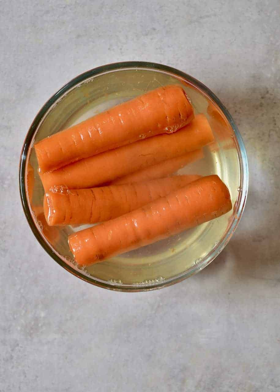 boiled and cored carrots
