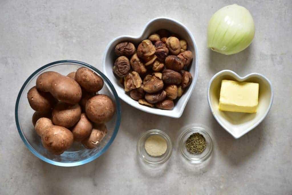ingredients for mushroom and chestnut wellington