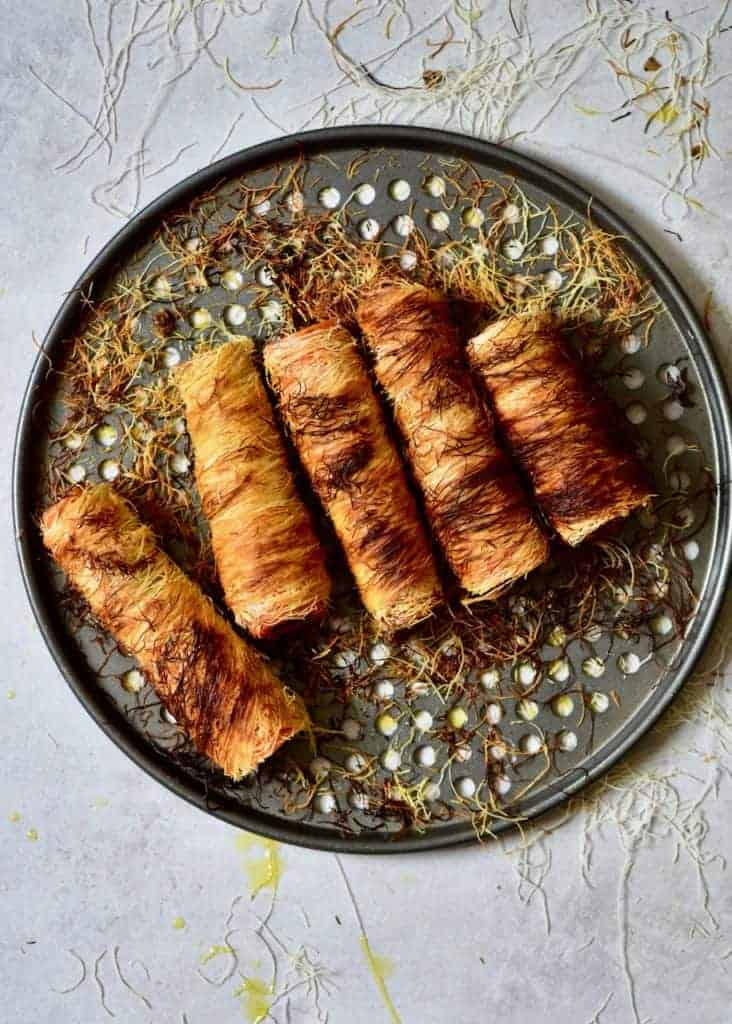 Delicious mushroom and chestnut stuffed carrots ( tree logs) wrapped in shredded phyllo pastry. A unique vegetarian main, perfect for a vegetarian Thanksgiving or Christmas dish or special occasion recipe! Vegetarian ( easily veganised), grain-free, paleo, healthy & delicious fun baked carrots recipe!