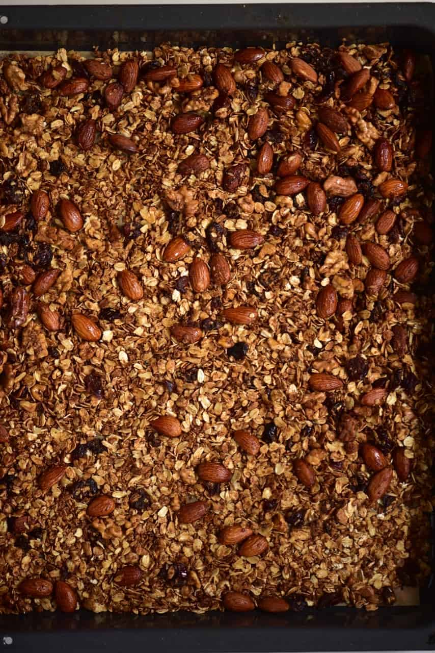A baking tray with freshly baked granola