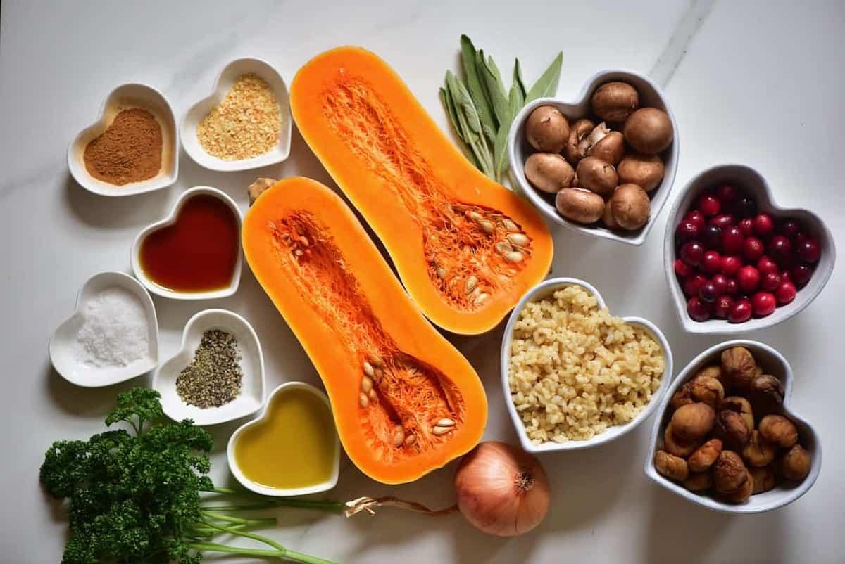 ingredients for vegan stuffed butternut squash