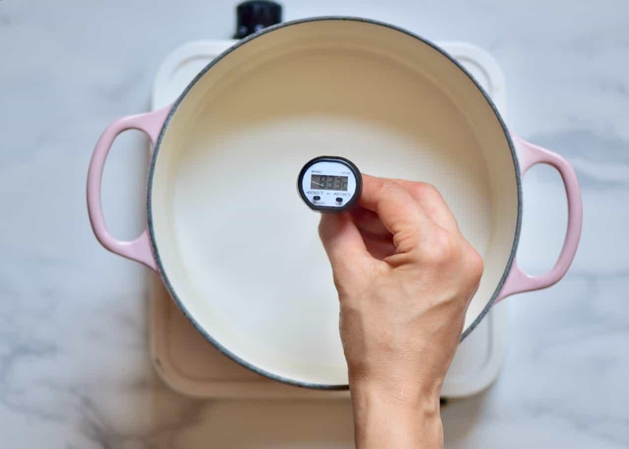 Heating coconut milk with cornstarch