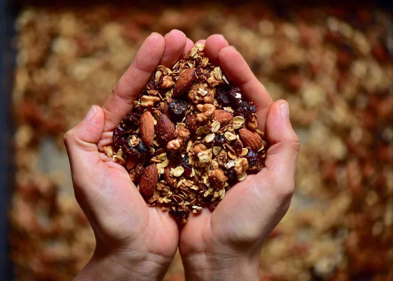 a handful of homemade granola