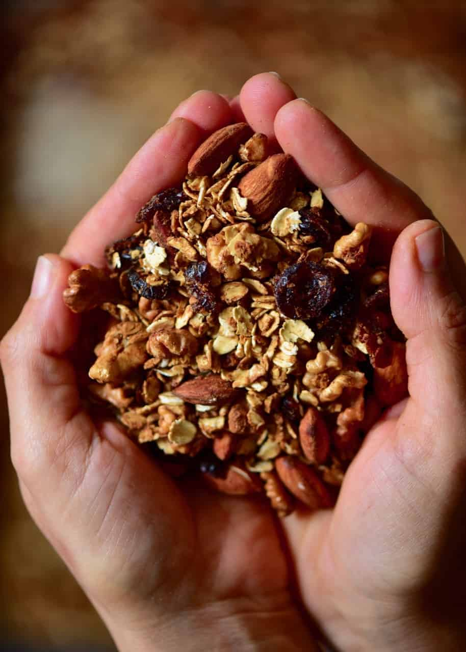 A handful of Christmas granola