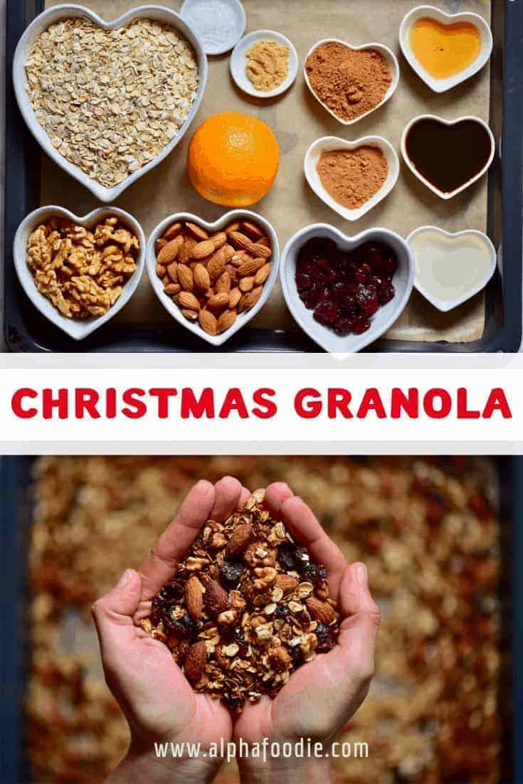 This Easy, healthy homemade Christmas granola is a delicious cranberry orange granola mix with almonds, walnuts, cranberries, orange zest and a variety of Christmas spices and more - Perfect for a healthy homemade Christmas food gift for the health concious, because who doesn't like an edible Christmas gift?