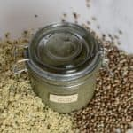 one-ingredient homemade hemp seed butter recipe including the health benefits of hemp seeds, flavoured hemp seed butter options and uses
