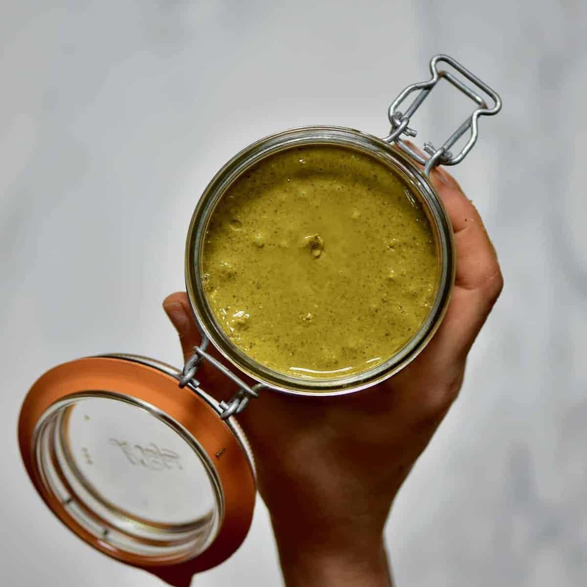 a jar of homemade pistachio butter recipe